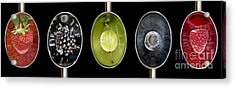 Fruit Spoons On Black Acrylic Print by Tim Gainey