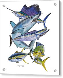Gamefish Collage Acrylic Print by Carey Chen