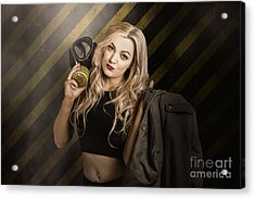 Gas Mask Pinup Girl In Nuclear Danger Zone Acrylic Print by Jorgo Photography - Wall Art Gallery