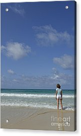 Girl Contemplating Ocean From Beach Acrylic Print by Sami Sarkis