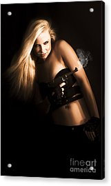 Girl Holding Smoking Gun Acrylic Print by Jorgo Photography - Wall Art Gallery