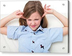 Girl With Her Fingers In Ears Acrylic Print by Lea Paterson