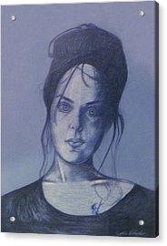 Girl With Tattoo Acrylic Print by Cynthia Hilliard
