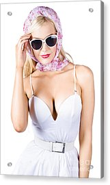 Glamorous Pinup Woman In Head Scarf Acrylic Print by Jorgo Photography - Wall Art Gallery