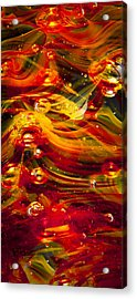 Glass Macro Abstract - Molten Fire Acrylic Print by David Patterson