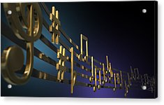 Gold Music Notes On Wavy Lines Acrylic Print by Allan Swart