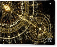 Golden Abstract Circle Fractal Acrylic Print by Martin Capek