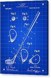 Golf Club Patent 1909 - Blue Acrylic Print by Stephen Younts