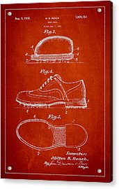 Golf Shoe Patent Drawing From 1931 Acrylic Print by Aged Pixel