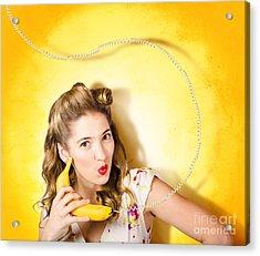 Gossiping Retro Pin Up Girl On Fruit Phone Acrylic Print by Jorgo Photography - Wall Art Gallery
