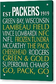 Green Bay Packers Acrylic Print by Jaime Friedman