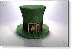 Green Leprechaun Shamrock Hat Acrylic Print by Allan Swart