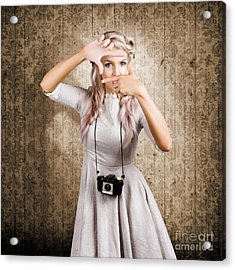 Grunge Girl With Retro Film Camera Concept Framing Acrylic Print by Jorgo Photography - Wall Art Gallery