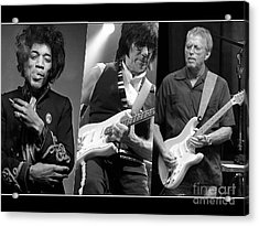 Guitar Legends Jimi Hendrix Jeff Beck And Eric Clapton Acrylic Print by Marvin Blaine
