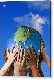 Hands On A Globe Acrylic Print by Don Hammond