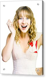 Happy Excited Woman With Wide Smile Acrylic Print by Jorgo Photography - Wall Art Gallery