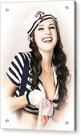 Happy Sailor Girl Pin-up Pulling In Anchor Rope Acrylic Print by Jorgo Photography - Wall Art Gallery