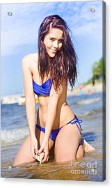 Happy Woman At The Beach Acrylic Print by Jorgo Photography - Wall Art Gallery