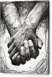 Holding Hands Acrylic Print by Michael  Volpicelli