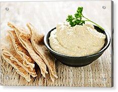 Hummus With Pita Bread Acrylic Print by Elena Elisseeva
