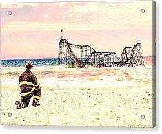 Hurricane Sandy Fireman Acrylic Print by Jessica Cirz