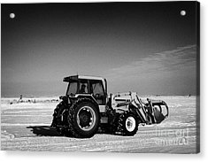 international 5140 tractor with front end loader on frozen field Forget Saskatchewan Canada Acrylic Print by Joe Fox