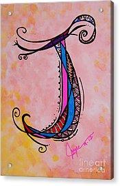 'j' Monogram Acrylic Print by Joyce Auteri