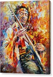 Jimi Hendrix Acrylic Print by Leonid Afremov