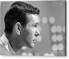 Johnny Carson On The Set Of The Tonight Show 1963 Acrylic Print by The Phillip Harrington Collection
