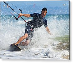 Kite Surfing In Front Of Hotel Dos Acrylic Print by Ben Welsh