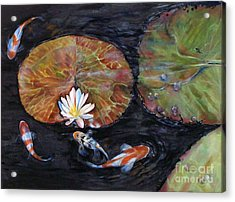 Koi Pond II Acrylic Print by Laneea Tolley