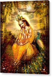 Krishna With The Peacock Acrylic Print by Ananda Vdovic