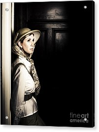 Lady In Vintage Attire At Night Acrylic Print by Jorgo Photography - Wall Art Gallery