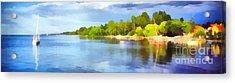 Landscape Of The Balaton Lake Acrylic Print by Odon Czintos