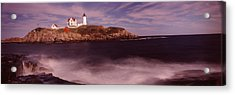 Lighthouse On The Coast, Nubble Acrylic Print by Panoramic Images