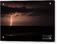 Lightning Over The Ocean Acrylic Print by Dawna  Moore Photography