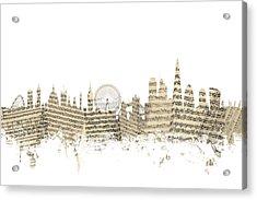 London England Skyline Sheet Music Cityscape Acrylic Print by Michael Tompsett