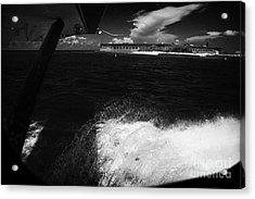 Looking Out Of Seaplane Window Landing On The Water Next To Fort Jefferson Garden Key Dry Tortugas F Acrylic Print by Joe Fox