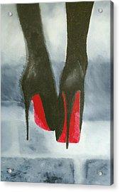 Louboutin At Midnight Acrylic Print by Rebecca Jenkins