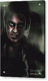 Mad Zombie Schoolgirl In Green Twilight Nightmare Acrylic Print by Jorgo Photography - Wall Art Gallery