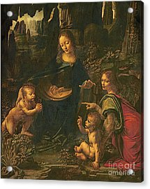 Madonna Of The Rocks Acrylic Print by Leonardo da Vinci