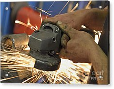 Man Cutting Steel With Grinder Acrylic Print by Sami Sarkis