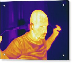 Man Exercising, Thermogram Acrylic Print by Science Stock Photography