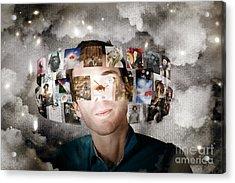 Man Streaming Media With Cloud Server Informatics Acrylic Print by Jorgo Photography - Wall Art Gallery