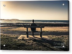 Man Watching Australian Sunset On Park Bench Acrylic Print by Jorgo Photography - Wall Art Gallery