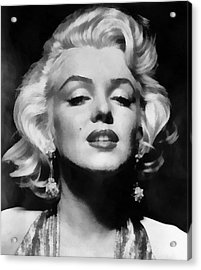 1950s Portraits Acrylic Print featuring the digital art Marilyn Monroe - Black And White  by Georgia Fowler