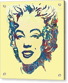 Marilyn Monroe Stylised Pop Art Drawing Sketch Poster Acrylic Print by Kim Wang
