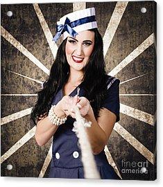 Marine Sailor Corps Girl. Vintage Design Portrait Acrylic Print by Jorgo Photography - Wall Art Gallery