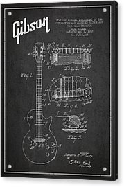 Mccarty Gibson Les Paul Guitar Patent Drawing From 1955 -  Dark Acrylic Print by Aged Pixel