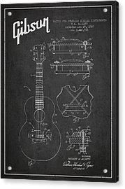 Mccarty Gibson Stringed Instrument Patent Drawing From 1969 - Dark Acrylic Print by Aged Pixel